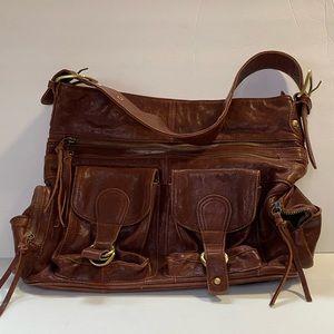 Chocolate blu brown leather purse